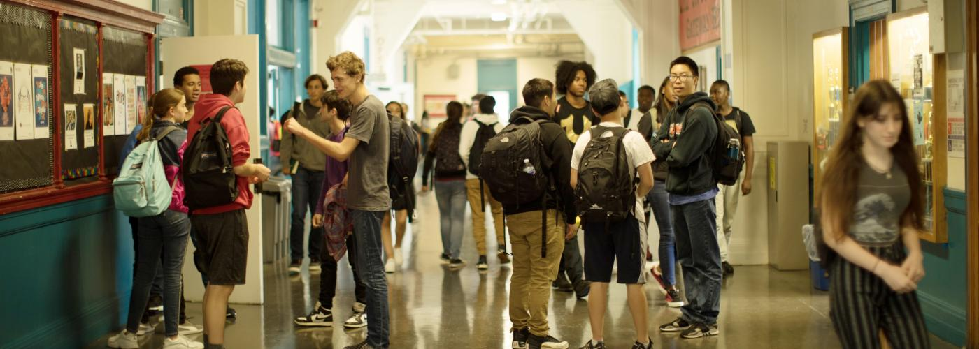 Students chatting in GHS hallway