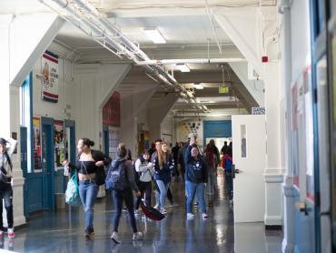 Students in the hall at Gateway High School
