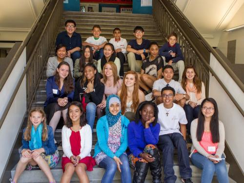 gateway public schools students on stairs
