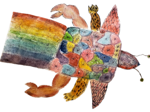 Fantasy creature (a rainbow turtle) drawn by a student