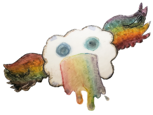 A cloud with rainbow wings and rainbows coming out of its mouth, drawn by a student